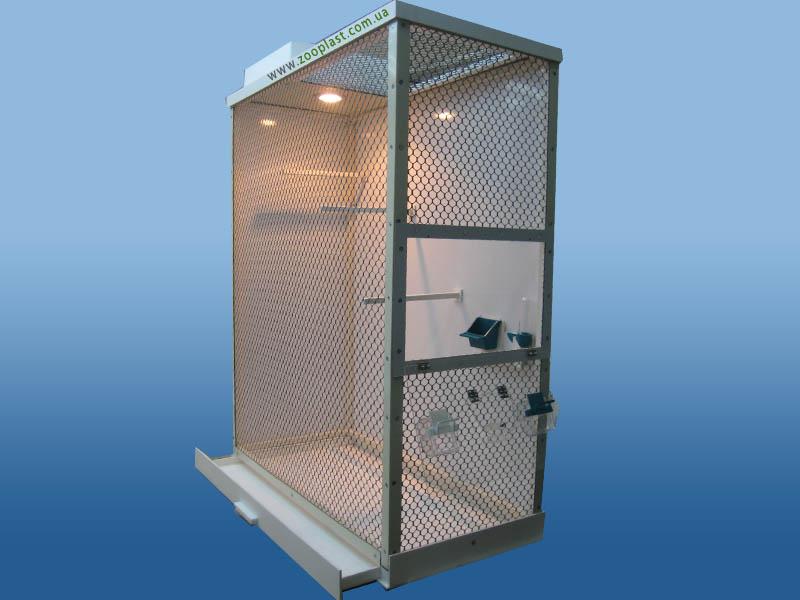 Вольер для содержания птиц размером 120х80х35 см, выполненный из композита и пластиковой сетки